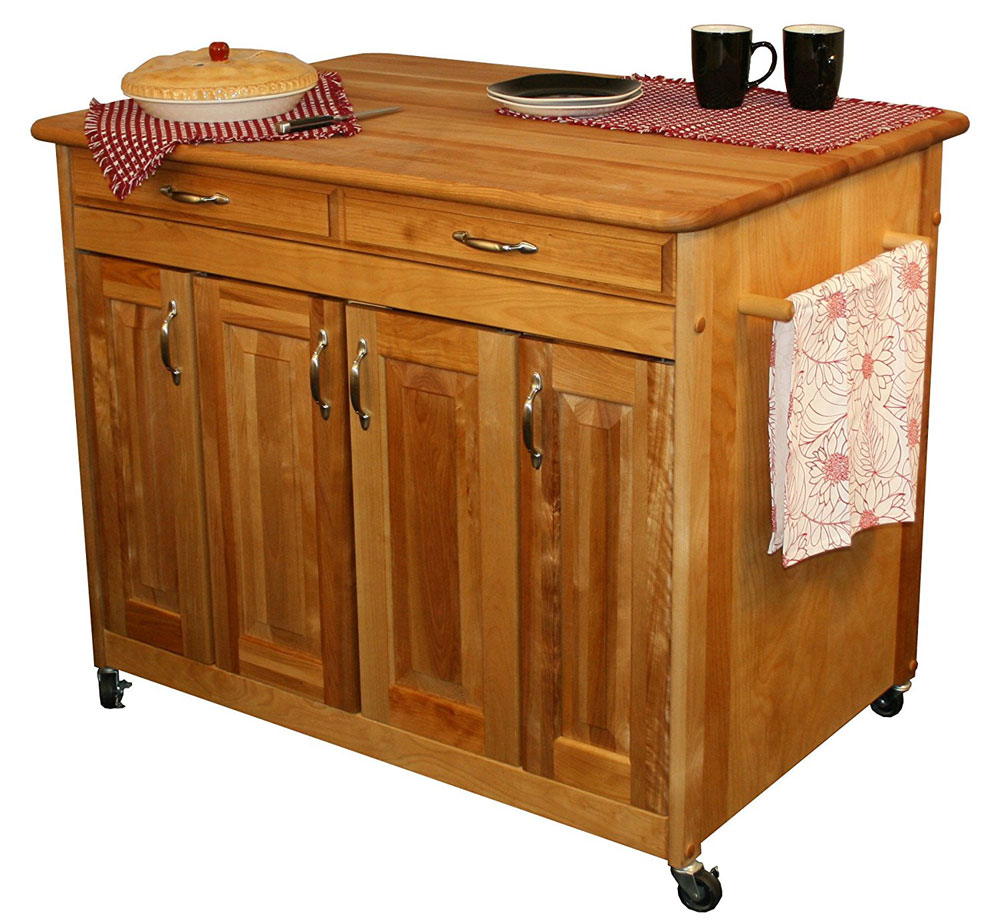 Butcher block work station in kitchen island carts for Butcher block manufacturers