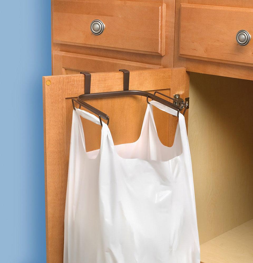 over cabinet trash bag holder in plastic bag recyclers. Black Bedroom Furniture Sets. Home Design Ideas
