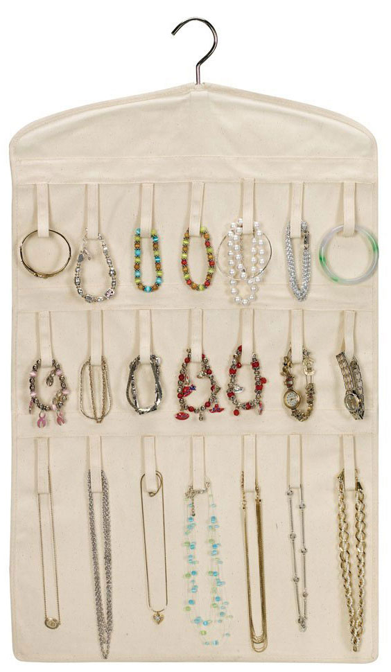 Canvas Hanging Bracelet and Necklace Organizer in Hanging Jewelry