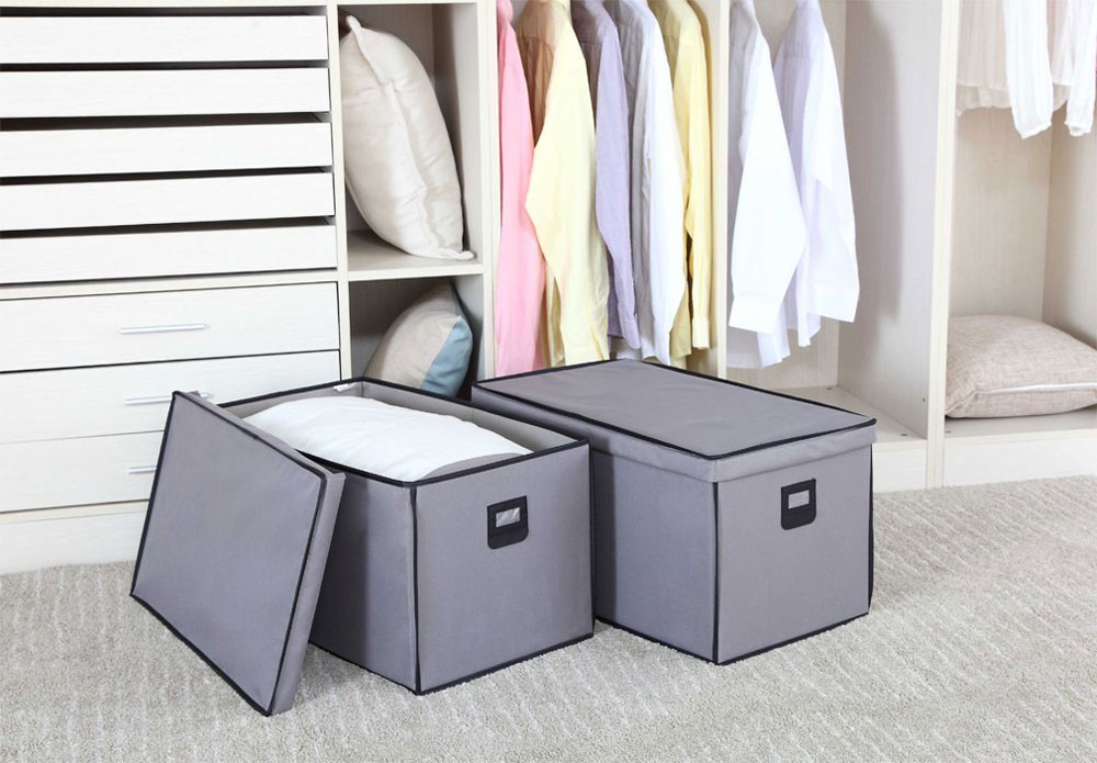 Canvas Storage Boxes For Wardrobes: Canvas Storage Boxes (Set Of 2) In Shelf Bins
