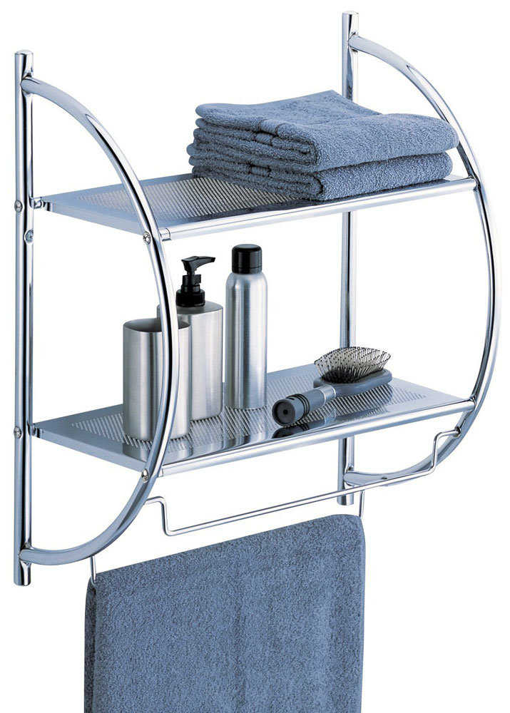 Chrome Bathroom Shelf with Towel Bars in Bathroom Shelves