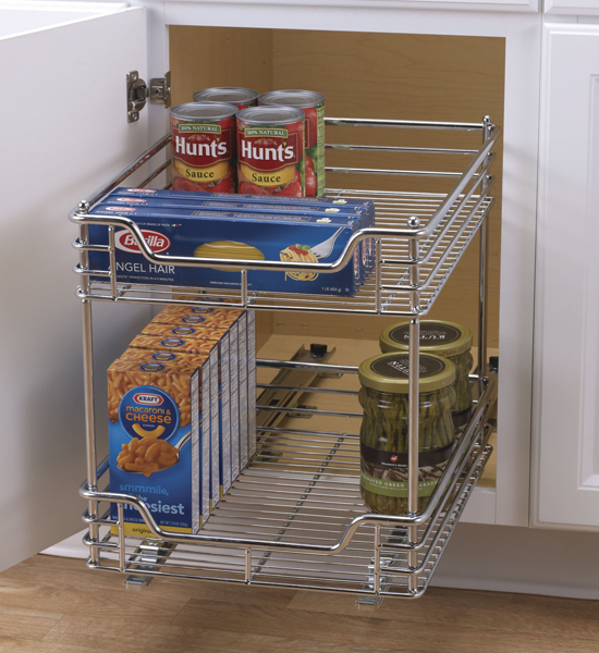 Chrome two tier sliding cabinet organizer in pull out baskets Kitchen cabinet organization systems