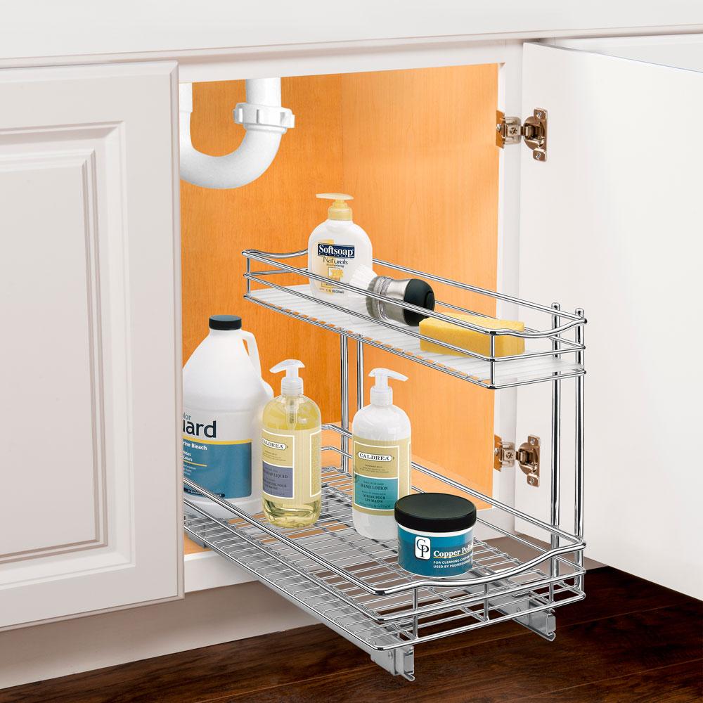 deep pull out under sink organizer chrome in pull out baskets. Black Bedroom Furniture Sets. Home Design Ideas
