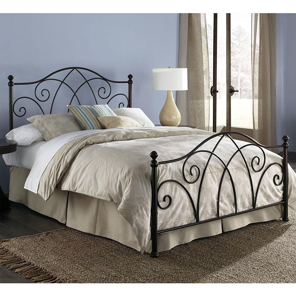 brown metal bed frame