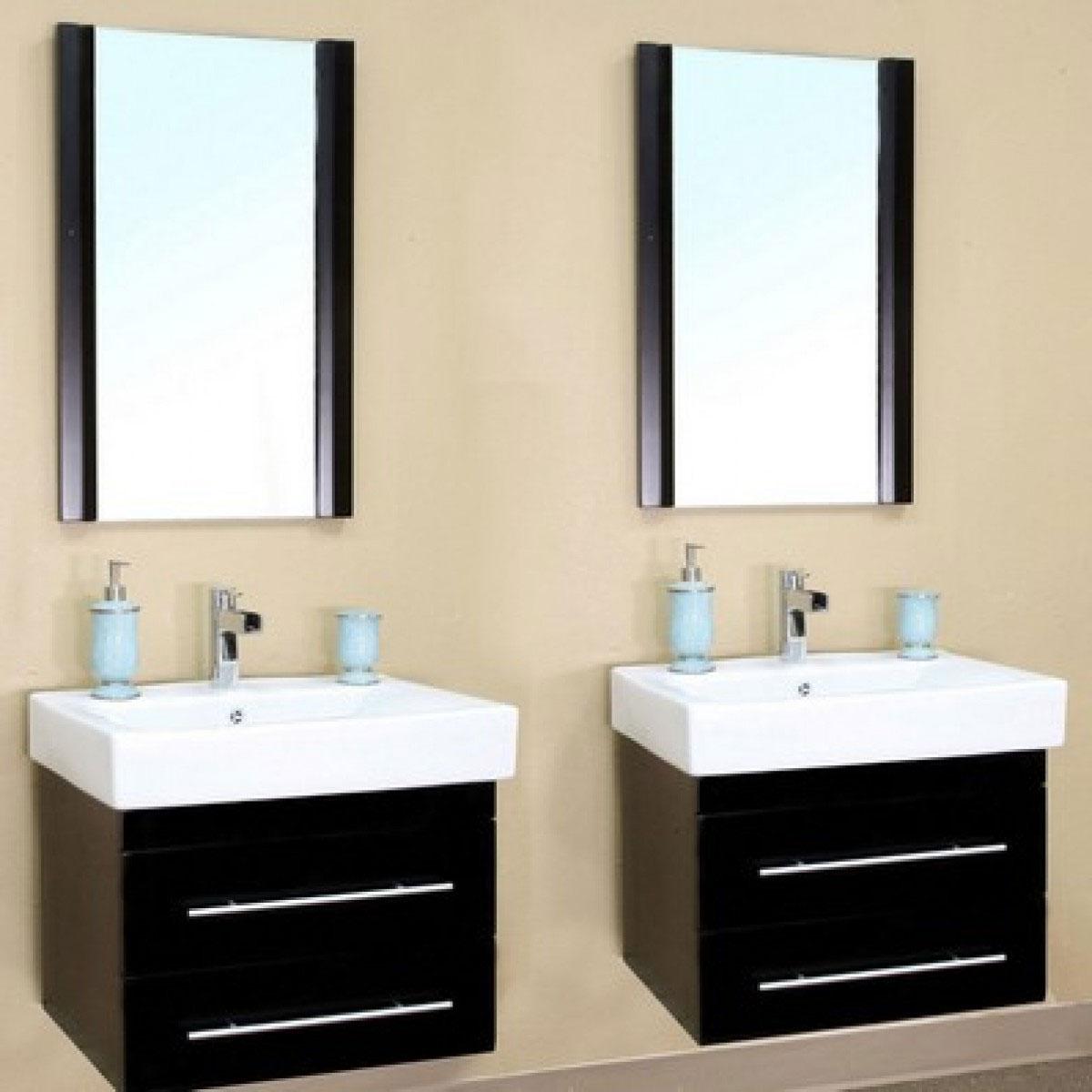 Wall Bathroom Vanity: Double Wall-Mount Sink Vanity In Bathroom Vanities