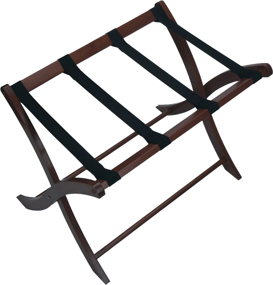 Folding luggage stand walnut in luggage racks for Stand pliant