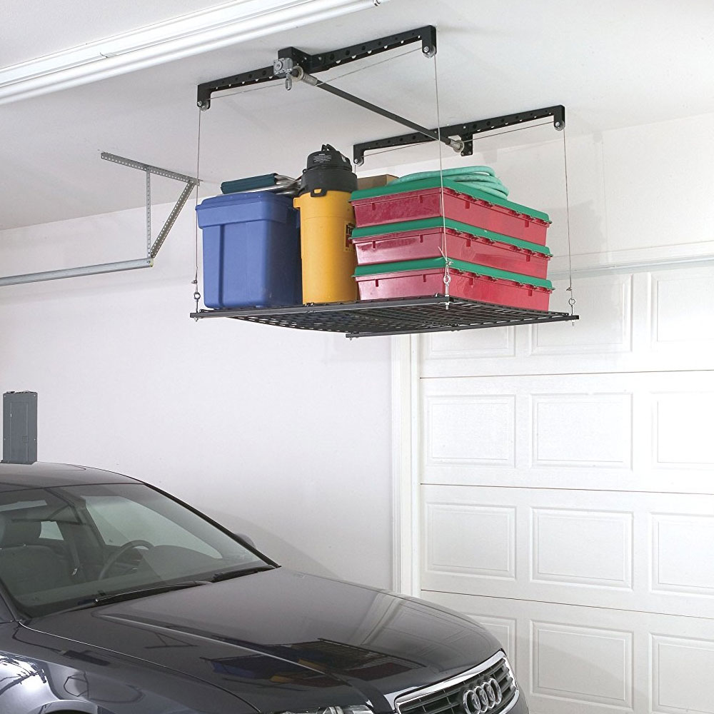 Garage Rafter Storage Lift In Overhead Garage Storage