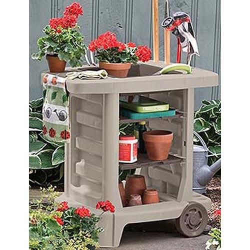 Garden tool storage cart in garage storage racks for Gardening tools storage