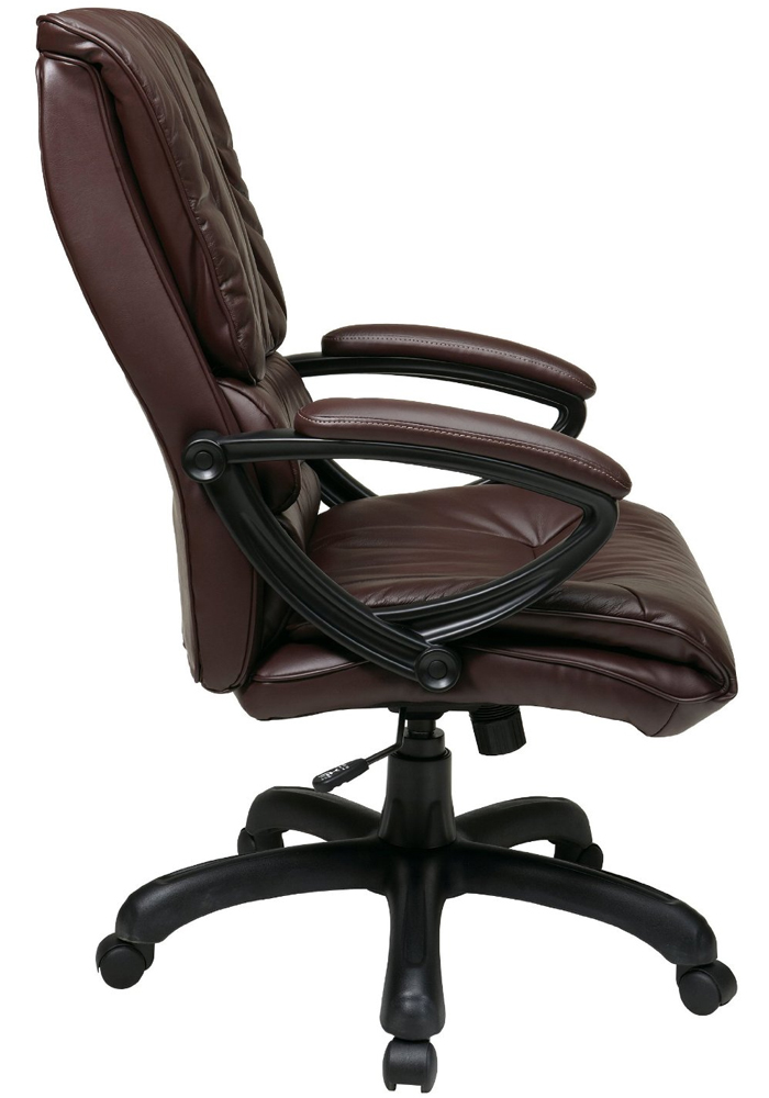 High Back Leather Chair With Pillow Top Seat And Back By Office Star In Offic