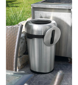 Indoor Outdoor Stainless Steel Trash Can In Stainless