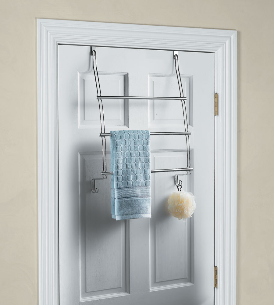 Interdesign Chrome Over The Door Towel Rack In Over The Door Towel Racks