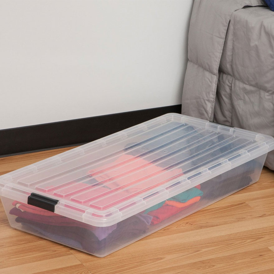 iris clear underbed storage container in under bed storage