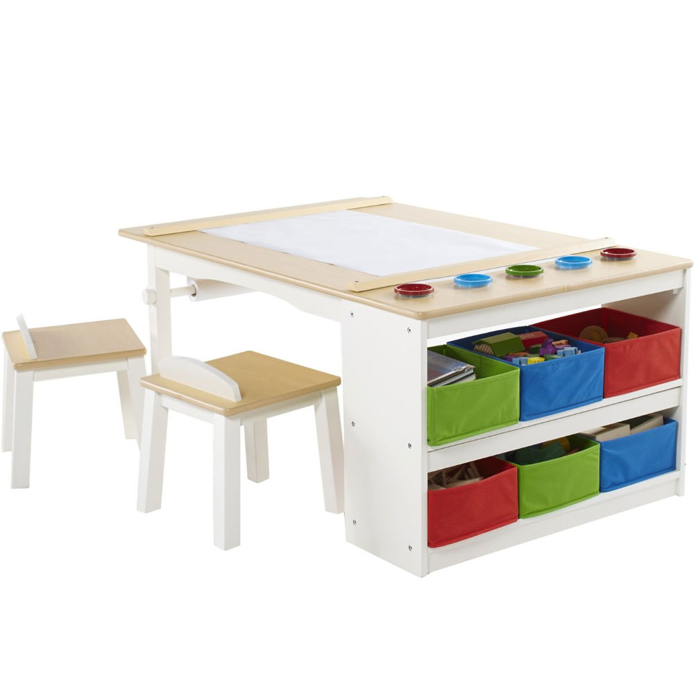 Kids arts and crafts table in kids desks for Small craft table with storage