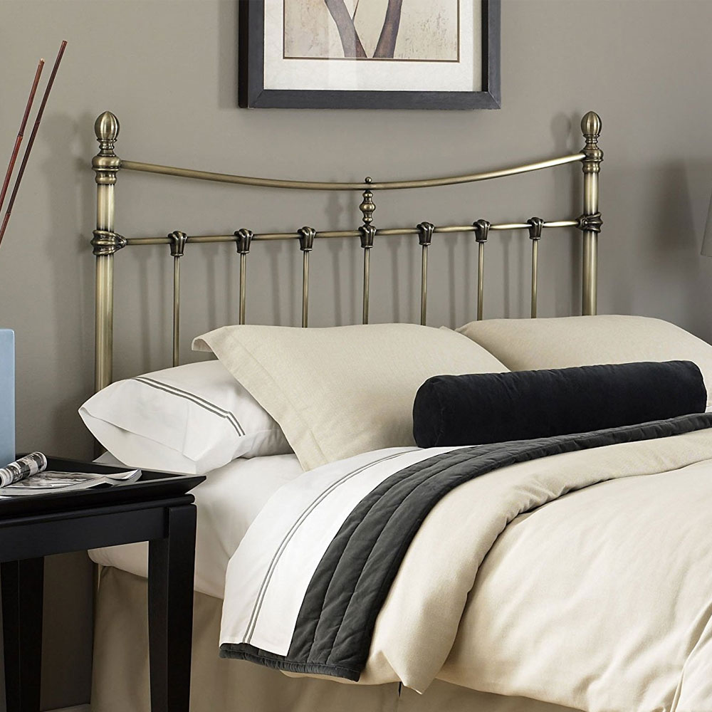 Leighton Metal Headboard Antique Brass In Beds And
