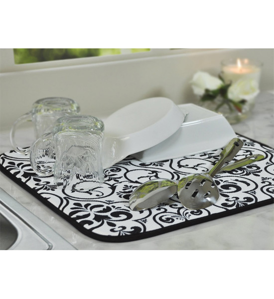 Microfiber Drying Mat Black Damask In Dish Racks