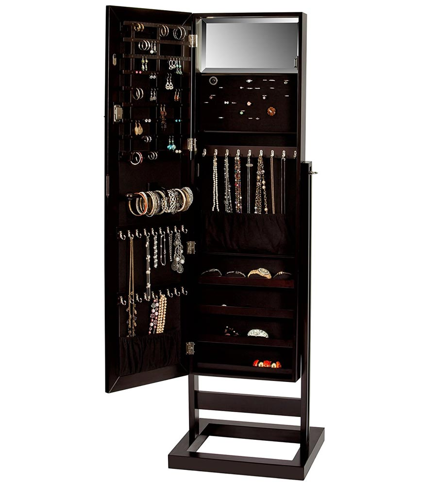 Mirrored jewelry armoire in jewelry armoires for Mirror jewelry cabinet