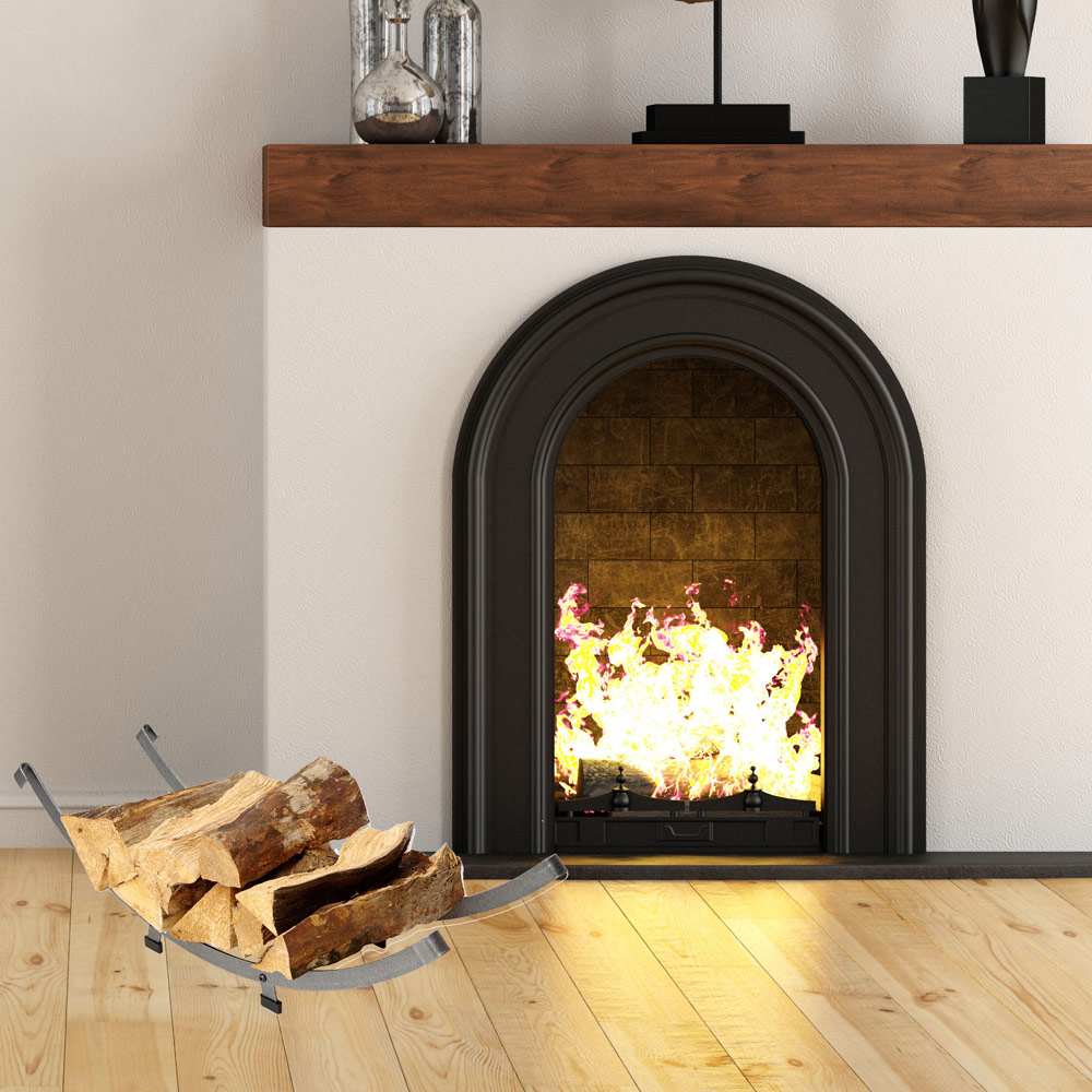 Modern Arch Firewood Rack in Indoor Firewood Racks
