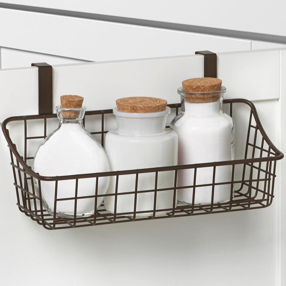 Over cabinet door basket with towel bar in cabinet door for Basket for kitchen cabinets
