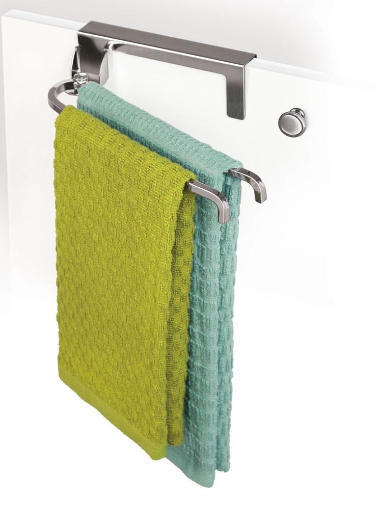 Kitchen Towel Racks For Cabinets over cabinet door towel bar - chrome in kitchen towel holders