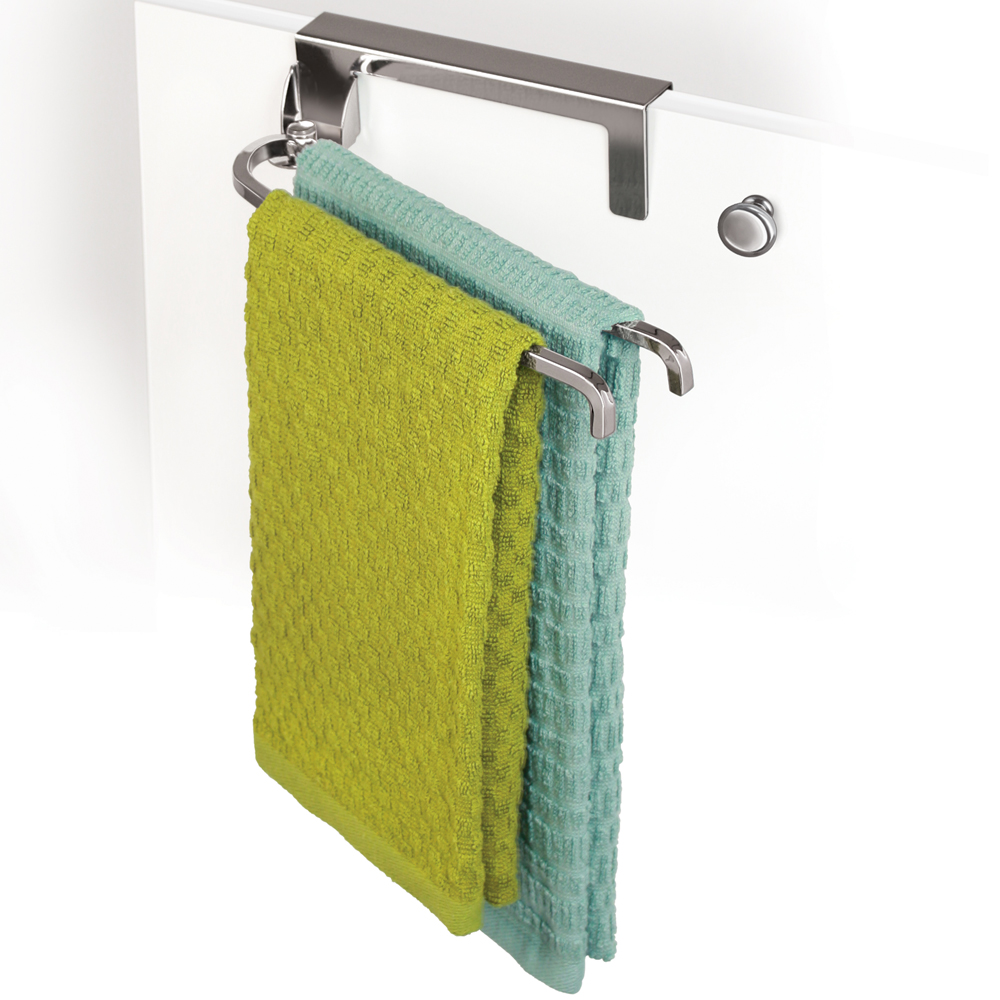 cabinet door towel bar chrome in kitchen towel holders