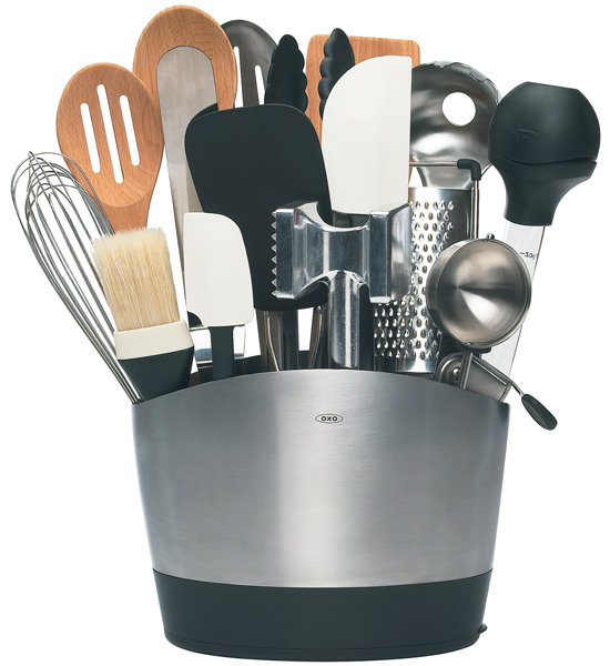 oxo stainless steel utensil holder in kitchen utensil holders