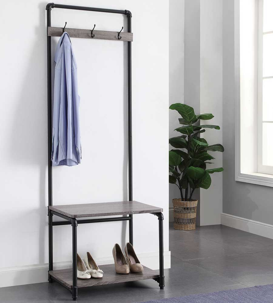 Pipe Style Foyer Bench And Coat Rack In Entryway Storage