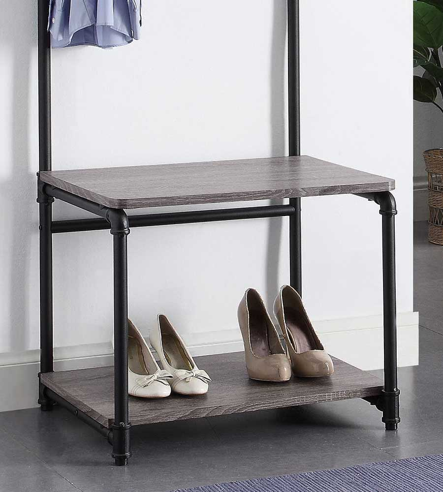 Foyer Bench And Coat Rack : Pipe style foyer bench and coat rack in entryway storage
