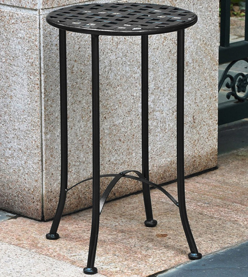 Wrought Iron Plant Table - Lattice Top