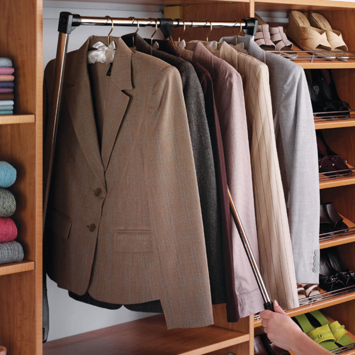 Pull Down Clothes Rod Closet Pull Down: Pull Down Closet Rod In Closet Rods And Brackets