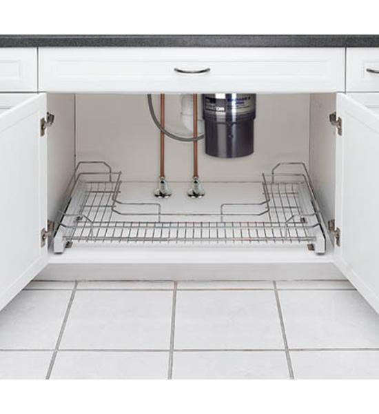Sink Organizer Shelf Under Kitchen Cabinet Storage Sliding: Sliding Under Sink Organizer