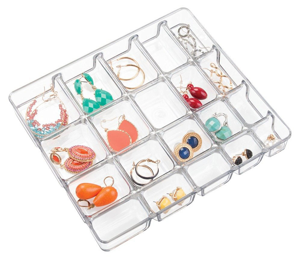 Small Clear Jewelry Organizer 20 Compartment in Jewelry Trays
