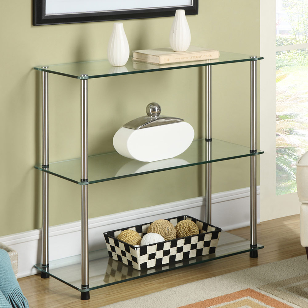 Three Tier Glass Shelf In Bathroom Shelves