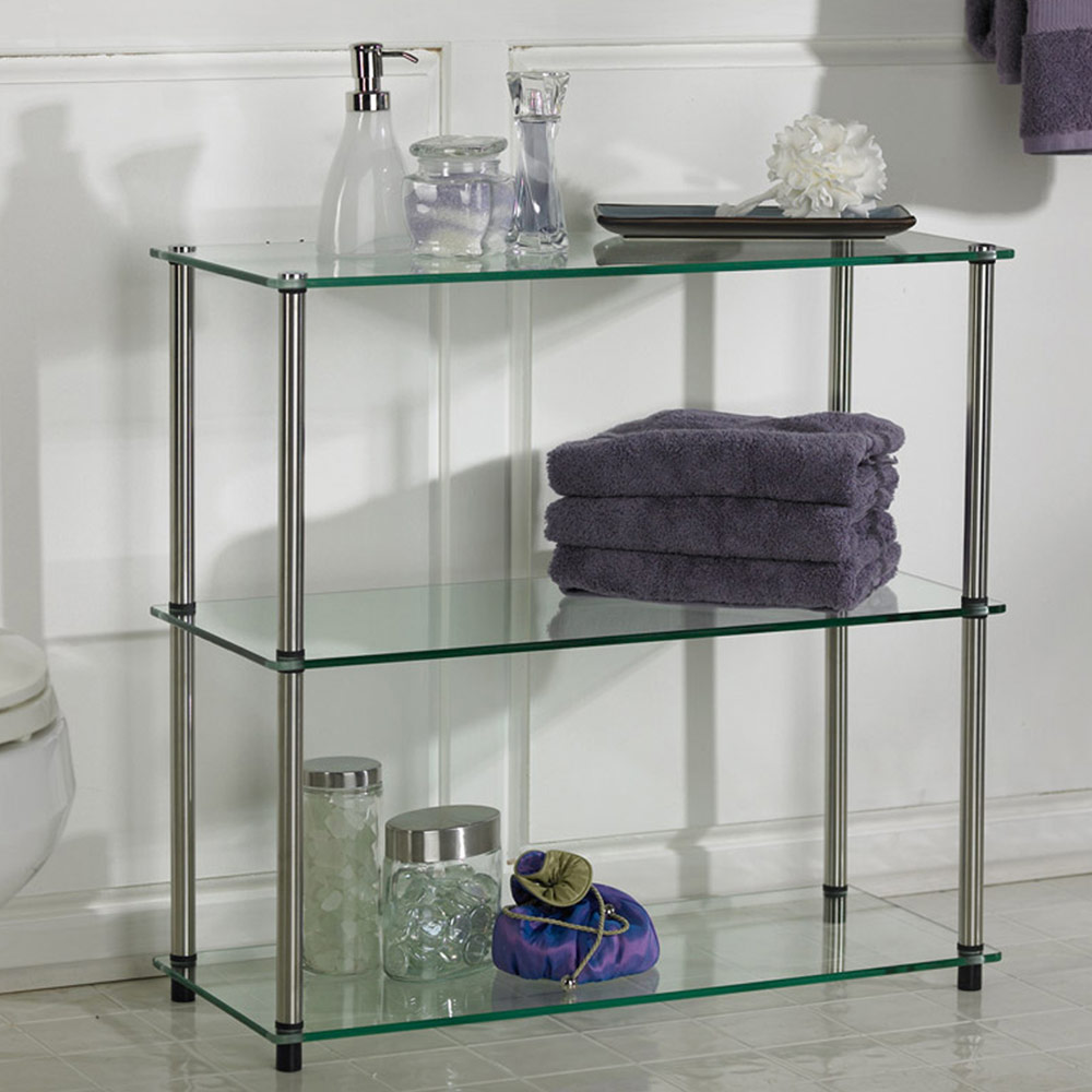three tier glass shelf in bathroom shelves. Black Bedroom Furniture Sets. Home Design Ideas