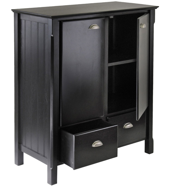 Timber Cabinet with Drawers - Black in Dressers