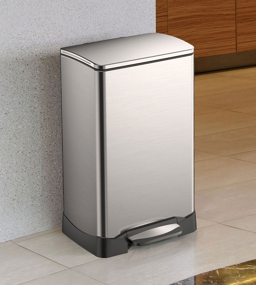 Trash receptacle rectangular stainless steel 40l in stainless steel trash cans - Rectangular garbage cans ...