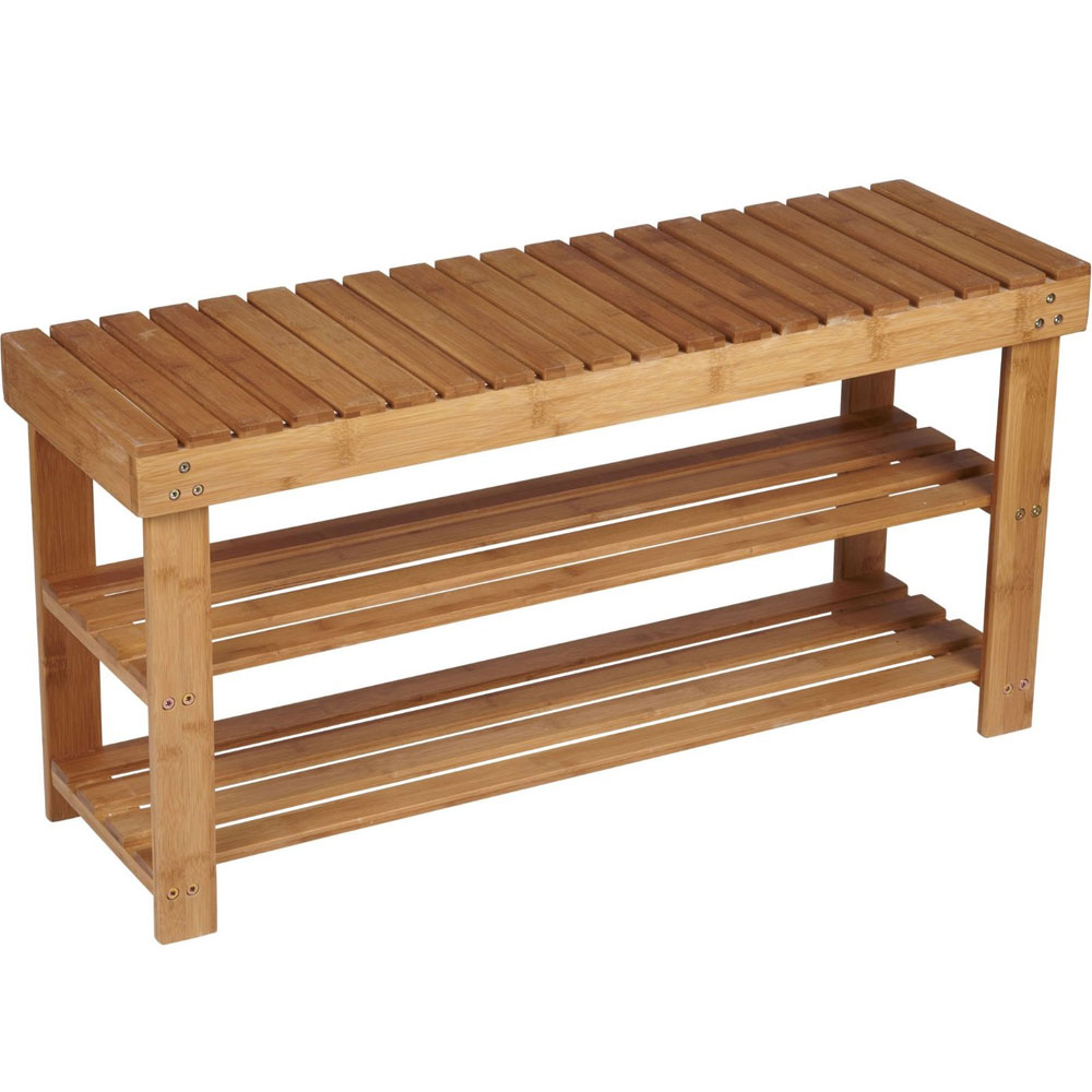 Two Shelf Bamboo Bench In Storage Benches: bench with shelf