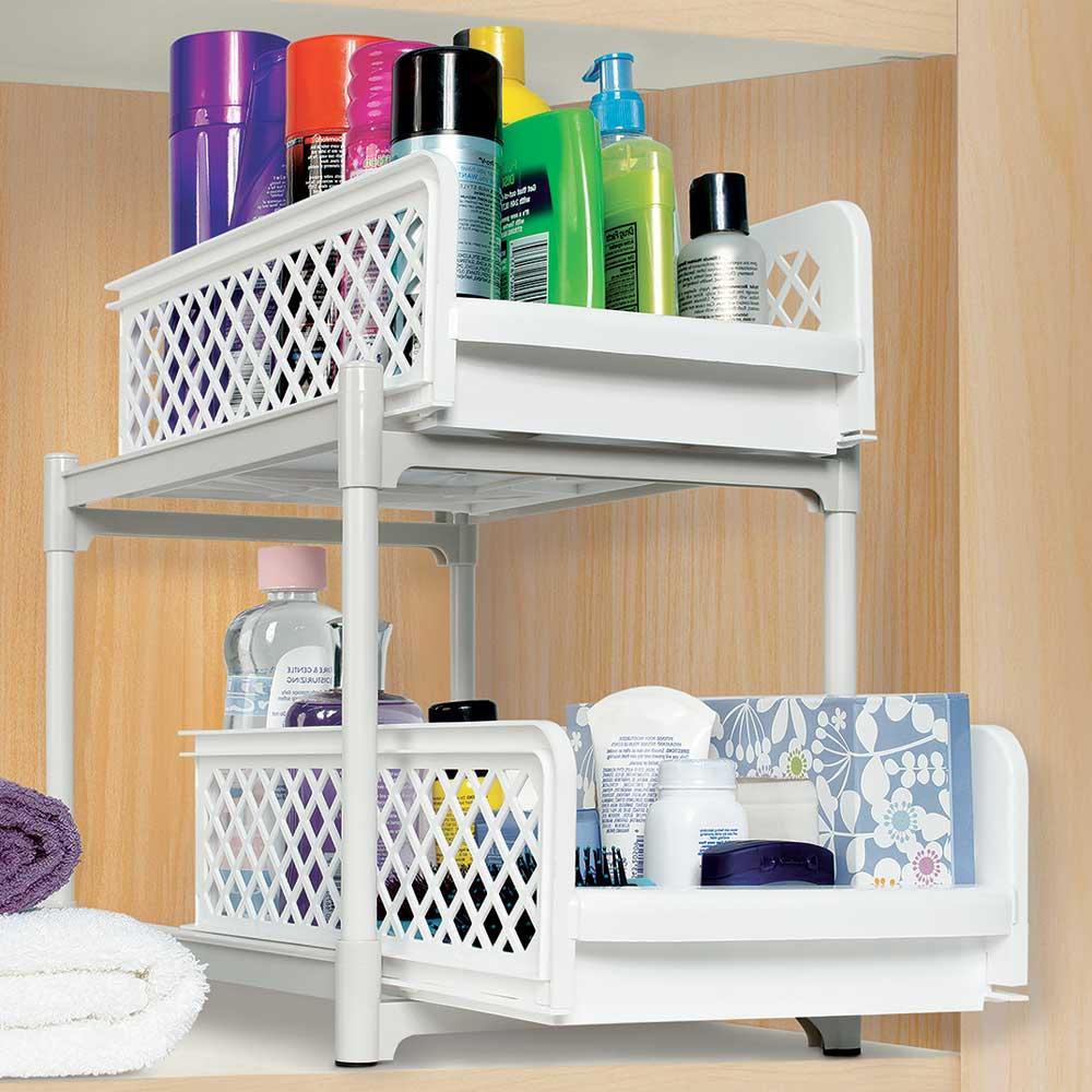 two tier basket drawers in cabinet shelves. Black Bedroom Furniture Sets. Home Design Ideas