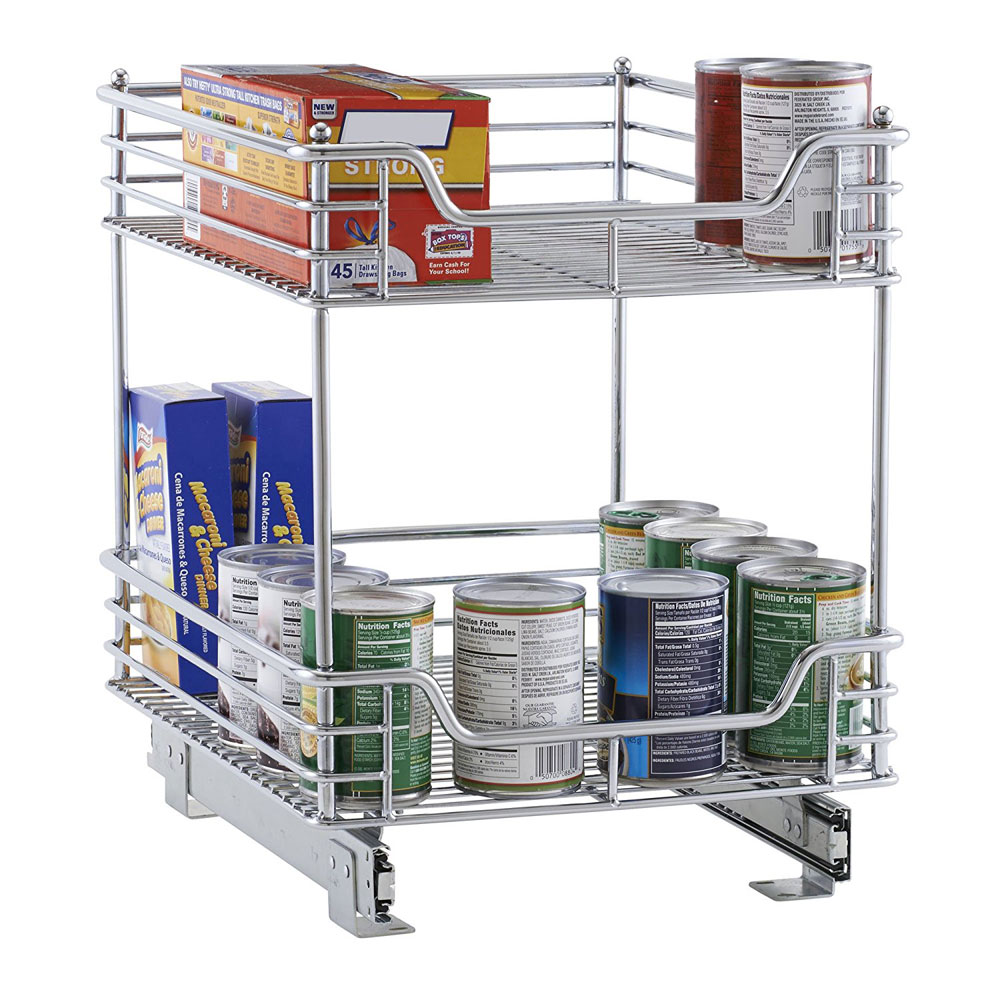 Chrome Two-Tier Sliding Cabinet Organizer in Pull Out Baskets