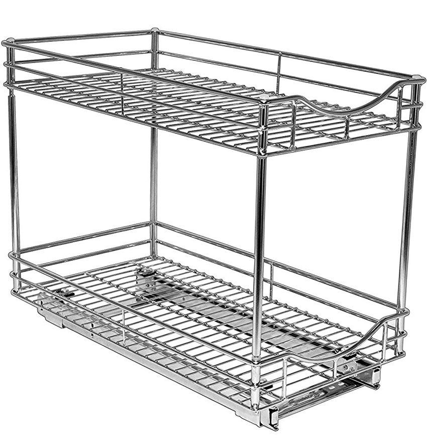 Two-Tier Sliding Cabinet Organizer - 11 Inch in Pull Out Baskets