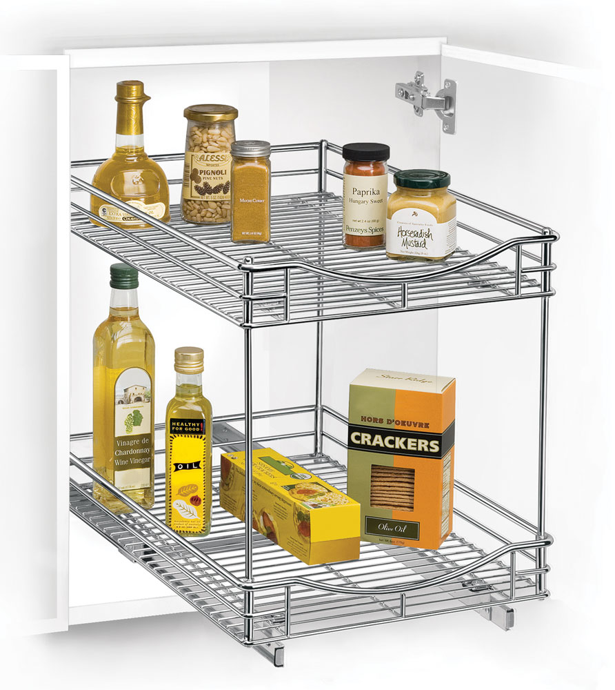 Two-Tier Sliding Cabinet Organizer