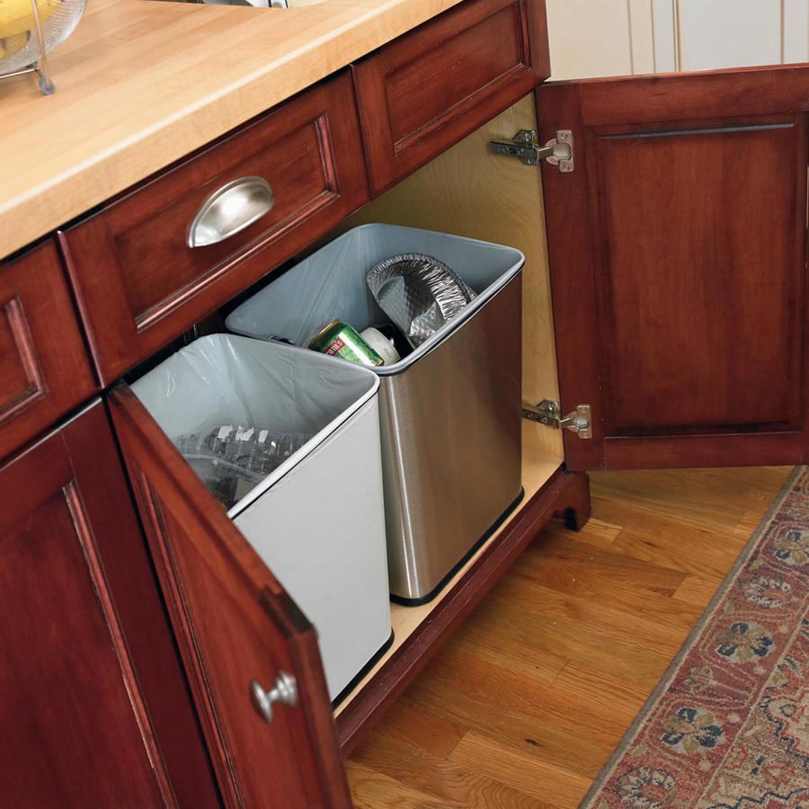under counter trash can by polder in cabinet trash cans