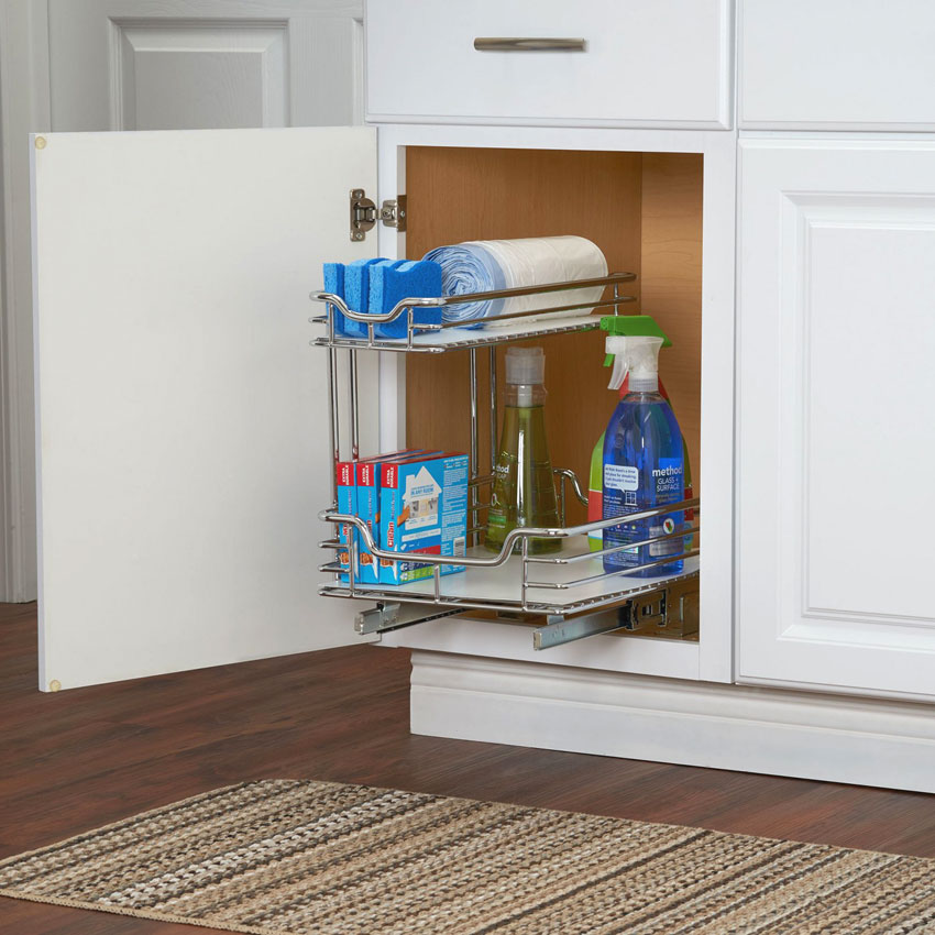 under sink sliding cabinet organizer in pull out baskets. Black Bedroom Furniture Sets. Home Design Ideas