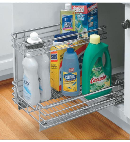 under sink sliding cabinet organizer in pull out baskets. Black Bedroom Furniture Sets. Home Design Ideas