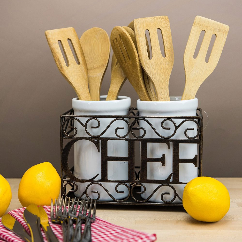 Utensil crock holder in kitchen utensil holders for Kitchen utensil holder