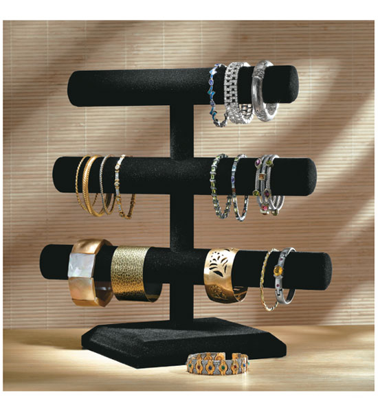 velvet 3 tier jewelry stand in jewelry stands