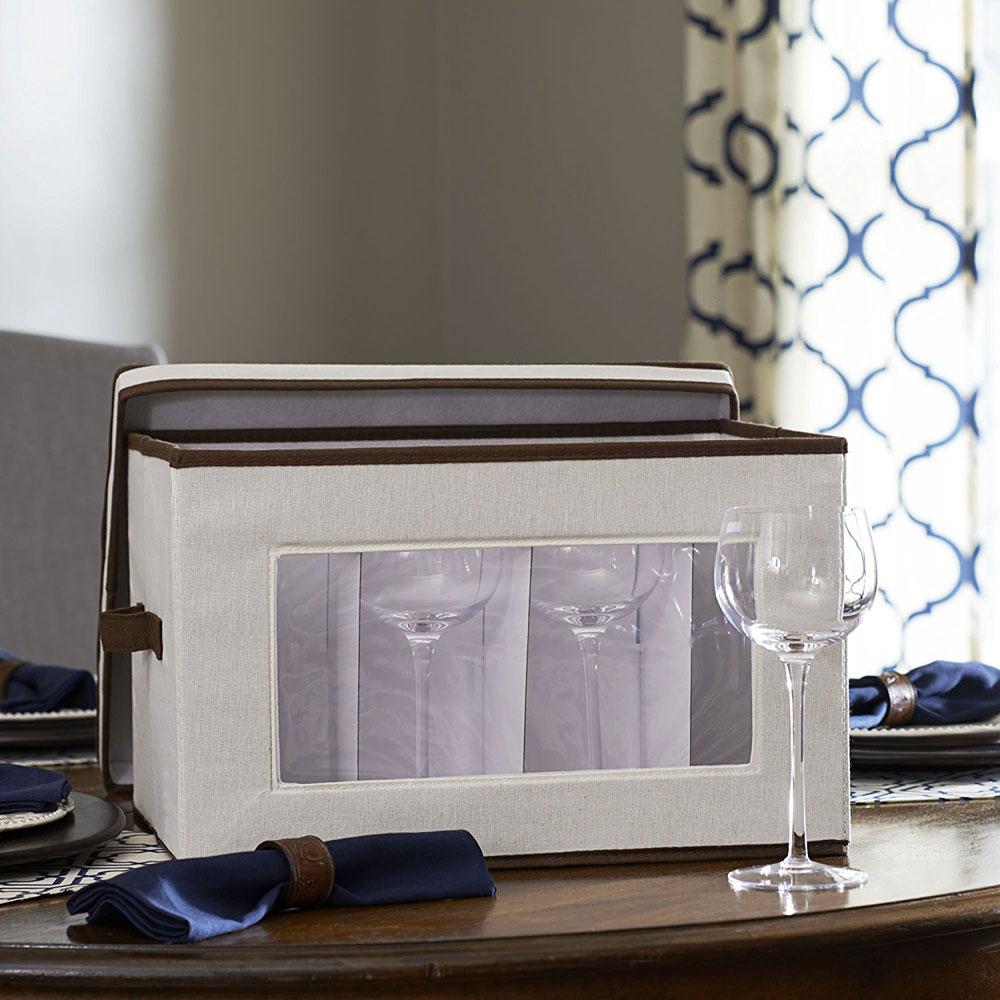 Vision Canvas Wine Goblet Storage Box In Stemware Storage