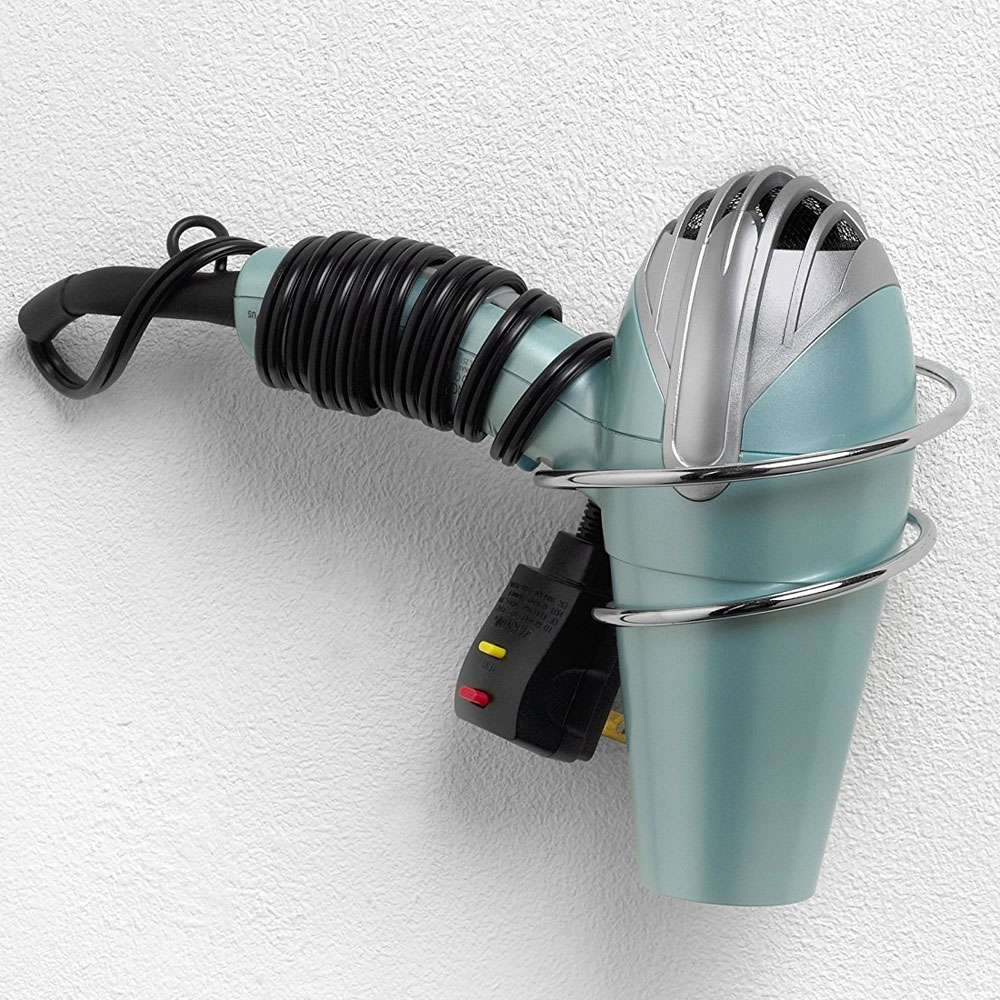 Wall Mount Hair Dryer Holder - Chrome Image. Click any image to view in  high resolution - Wall Mount Hair Dryer Holder - Chrome In Hair Dryer Holders