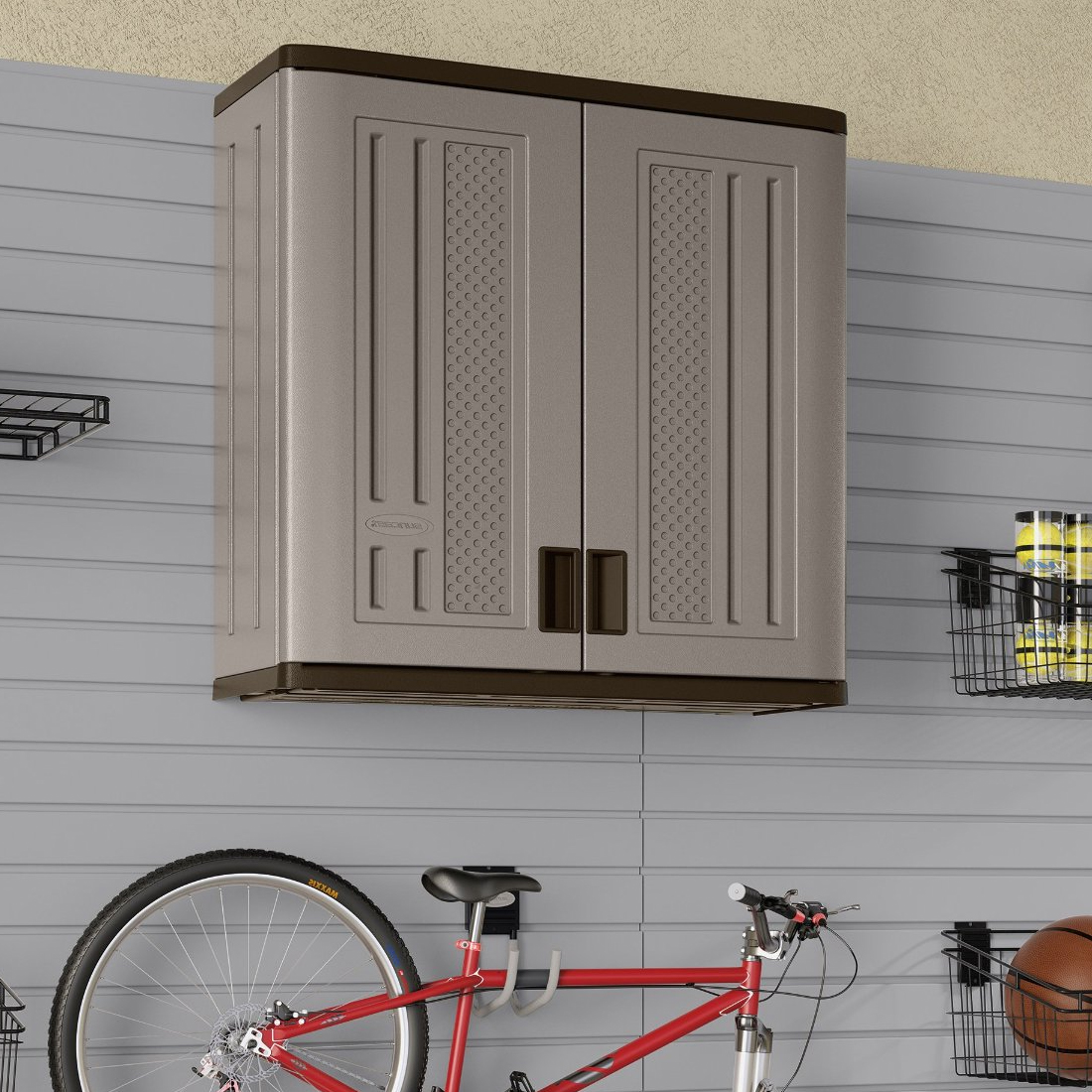Resin Utility Cabinet Wall Mounted Garage Cabinet In Storage Cabinets