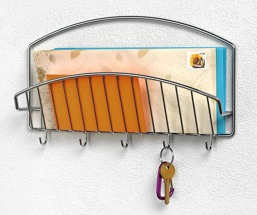 Wall Mounted Letter Holder With Hooks In Mail Organizers
