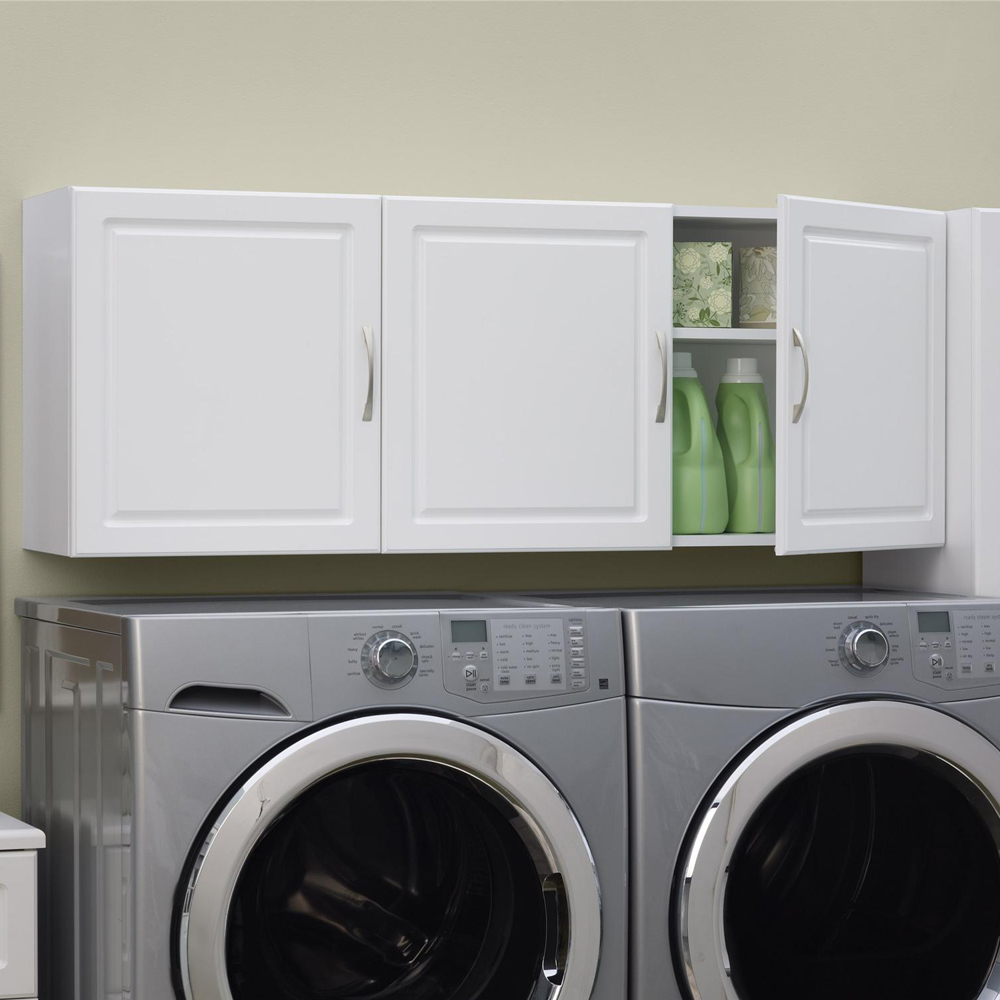 Wall mounted storage cabinet in laundry room organizers for Laundry room cabinets